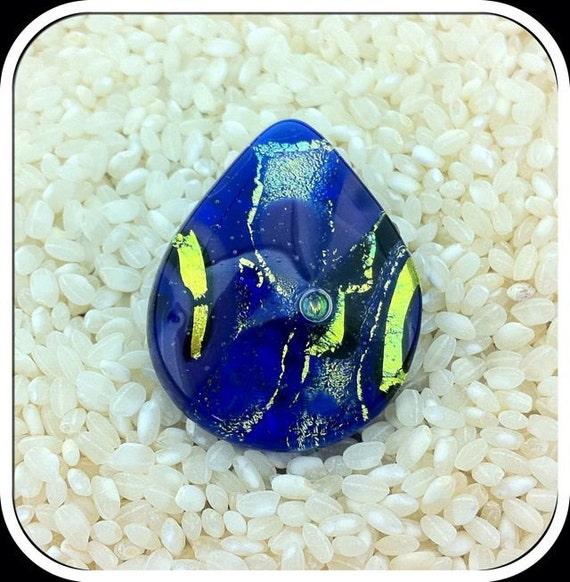 Dichroic Glass Pin Brooch & Pendant in one  .. Large Tear Drop ... Cobalt Blue Green Gold
