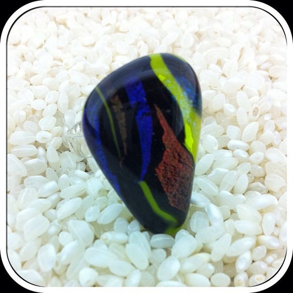 Sterling Silver Dichroic Glass Statement Ring .. Deep Colours .. Large.
