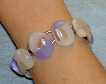 Lavender and White Dichroic Fused Glass Bracelet