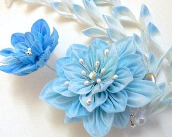 Blue Wild Rose - Fabric Flower Kanzashi Hair Clip - Made To Order