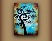 CLEARANCE...Undulating Swirls at Midnight...Original Abstract Contemporary Modern Art Tree Bird Painting by HD Greer