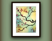 Blue Yellow and Pink Art Print..Modern Tree Bird Art by HD GREER Print..8 by 10