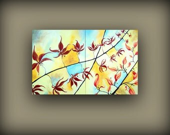 Autumn Fall Leaves on Blue and Yellow Sky... Large Multi Panel Modern Art Diptych Original Painting by HD Greer