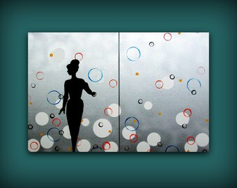 Silver Metallic Mod Painting...HUGE Abstract Contemporary Modern Art Diptych Metallic Painting by HD Greer