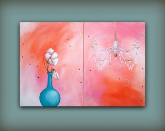 Orange and Pink Original Painting with a Teal Flower Vase...HUGE Contemporary Modern Art Diptych Metallic Painting by HD Greer