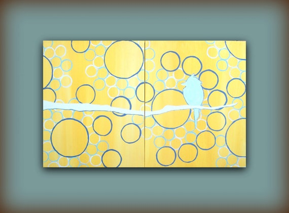 Large Original Painting...Out on the Limb...HUGE Abstract Contemporary Modern Art Diptych by HD Greer