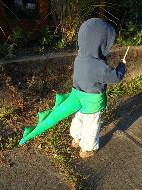 green and blue dragon/dino tail costume