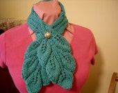 Hand Knit  Leafy Button Scarf Aqua with a Gold button  12 - 15