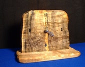 Desktop or tabletop clock handcrafted from solid,highly figured,exotic hardwood