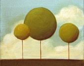 Three Trees - Memories of Summer - Original 6 by 6 Acrylic painting - deep canvas