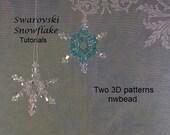 Tutorial, 3D Swarovski Snowflakes, Two Patterns,  Instant Download