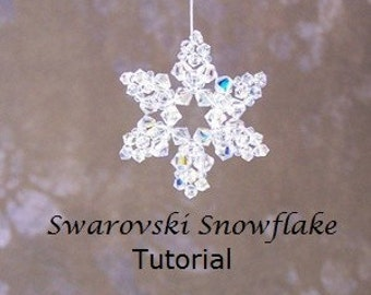 Tutorial, Snowflake, Swarovski Crystals - Instant Download