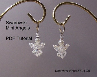 Tutorial, Mini Angel Earrings Swarovski Crystal - Instant Download