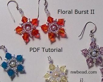 Bead Tutorial Pattern Earrings, Floral Burst II, Swarovski - Instant Download