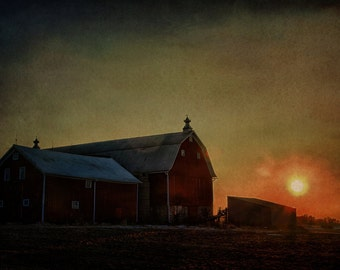 Sunset Barn, Fine Art Photograph - Home Deocr