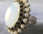 Vintage Faux Opal and Pearl Ring