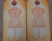 All Items Half Price - Hand stamped Mannequin Dress Form Vintage Inspired Hang Tags Set of 6 Orange