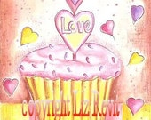 Valentine Cupcake Blank Greeting Card with Envelope - FREE SHIPPING
