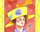 Tea Lady With Bees - Art Print - 8x10