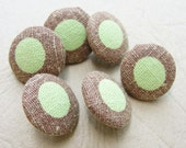 Fabric Covered Buttons - Linen Polka Dot - 6pc