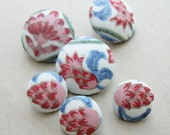 Fabric Covered Buttons -  Vintage Hand Printed Silk - 6pc