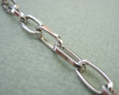 Rhodium plated elongated link  chain  3.3 ft / 1 meter