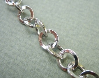 Rhodium coated hammered chain  3.3 ft / 1 meter