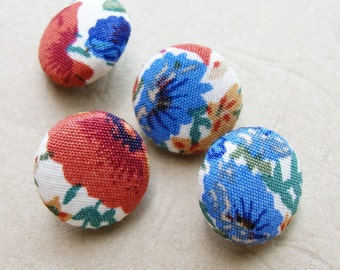 Fabric Covered Buttons -  Cotton - 4pc