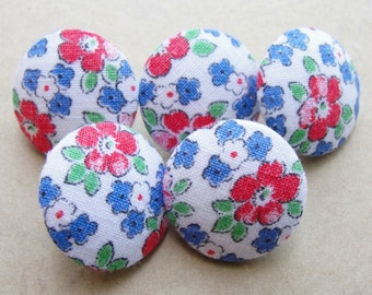 Fabric Covered Buttons - Vintage Cotton - 5pc