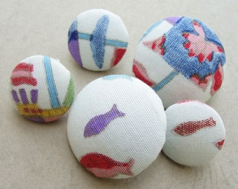Fabric Covered Buttons -  Vintage Hand Printed Silk - 5pc