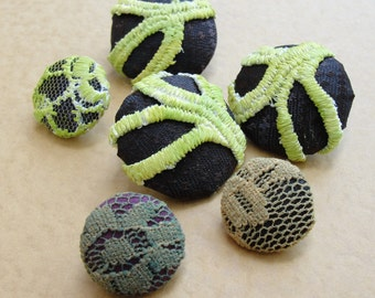 Fabric Covered Buttons -  Cotton and Lace - 6pc