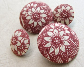 Fabric Covered Buttons - Vintage Cotton - 4pc