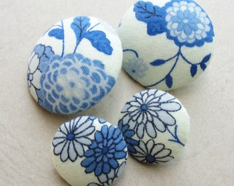 Fabric Covered Buttons - Japanese Cotton - no7- 4pc