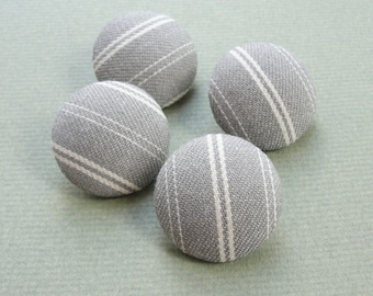 Fabric Covered Buttons - Vintage  Cotton Ticking - 4pc