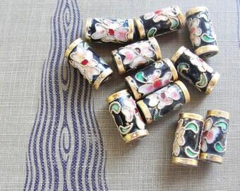 Sakura Cloisonne Beads    9pc