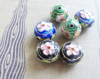 Sakura Cloisonne Beads    6pc