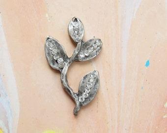 Rhinestoned Leaf Pendant