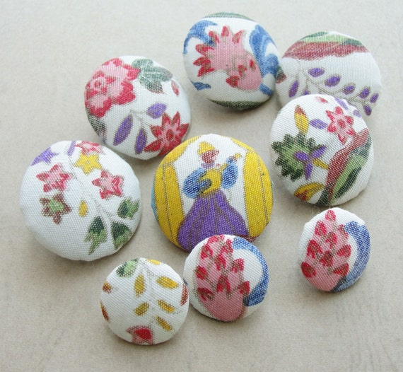 Fabric Covered Buttons -  Vintage Hand Printed Silk - 9pc