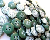 Buttons 100 FOREST GREEN Gingham Plaid 1cm