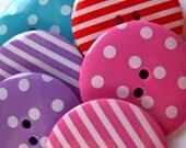 8 BIG Spots & Stripe Button Bag 1.25inch