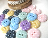 Buttons Vintage Girl x24 Drop SPOTS 1.5cm