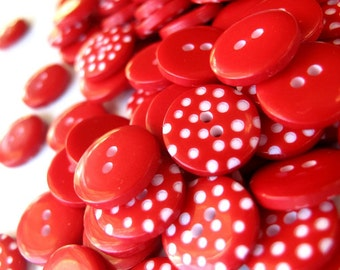 Buttons x100 RED Polka Dot Buttons 1cm