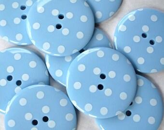 Buttons BIG Sky Blue Spotty Buttons x10