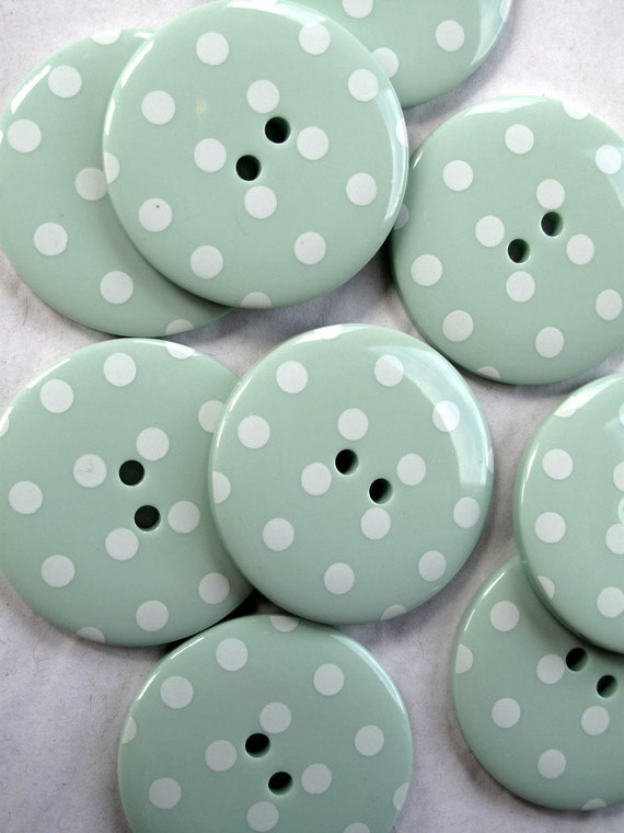 Buttons 10 BIG Mint Green Spotty 1.25inch