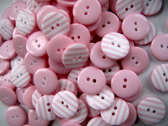 Buttons STRAWBERRY PINK Beach Hut Stripes Bag x100 small 1cm Buttons