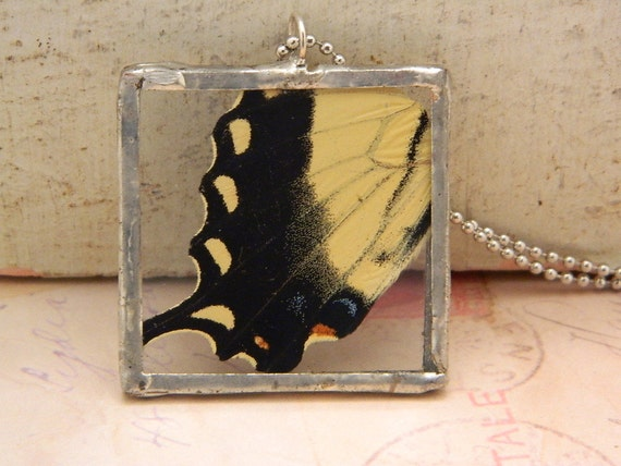 Real Butterfly Wing Soldered Necklace/Pendant--Flying High