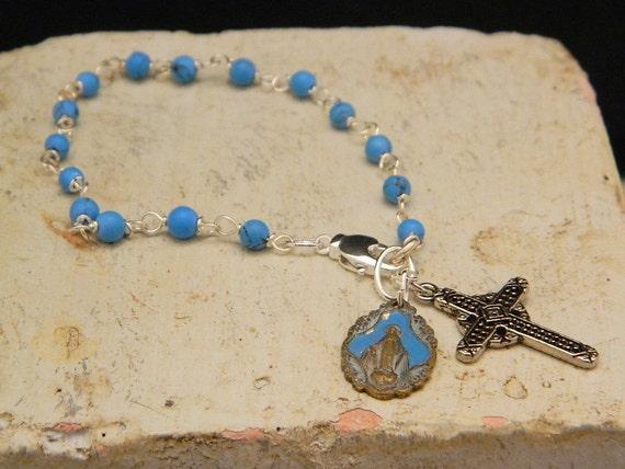 Bracelet Vintage Rosary Style--- The Virgin In Blue