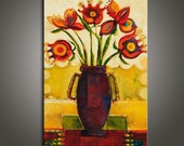Bouquet II- original mix media,oil painting on canvas