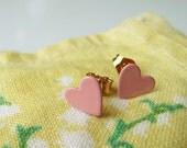 pretty pink sweetheart earrings