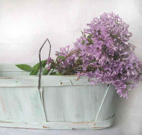 Vintage pale green shabby basket